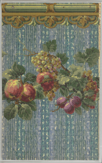 Art Deco sidewall with printed border of horizontal swagged vine bearing fruits, including grapes, plums, and peaches, and large leaves rendered in naturalistic colors in a rough painterly style; pink, red, and cream highlighting; top of paper features a green and brown pseudo-architectural molding in a Neo-Renaissance style; ground is in a rough illusionistic basket-weave pattern colored with washed-out splotches of blue and blue-green colors.