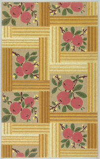 Grid design of deep and light yellow ocher printed on rough plaster-textured paper. Each grid contains a tree branch with red fruit and yellow blossoms.