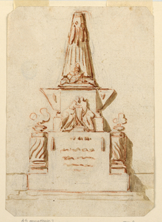 Upon a high base with burning lamps on short solomonic columns is an obelisk with figures at the base.