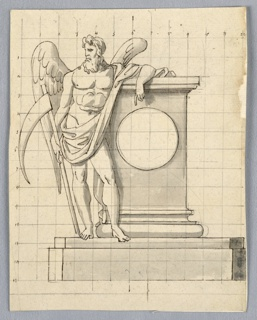 Vertical rectangle. Design for a timepiece, the base made up of two rectangular sections with bevelled corners. The figure of Saturnus is shown upon the front standing and leaning with his left arm upon a pedestal. The circle for the dial plate is shown. Squared; the lines are numbered, with pen, to 12 and 13 respectively.