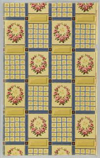 Varnished tile design; rose wreath alternating with grid design