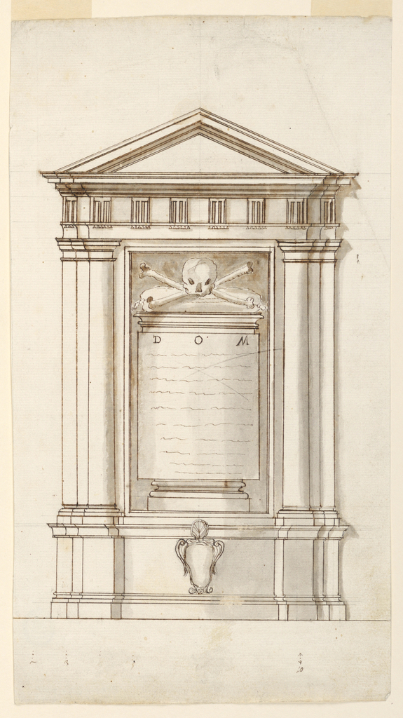An aedicule with triangular pediment and triglyphs. Within a skull and crossbones above an inscription beginning with DOM. Watermark: dove upon a triple mount, in circle above F