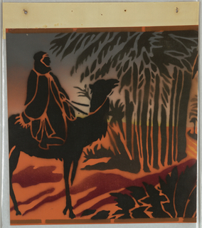 Wide frieze with silhouette of man on camel riding into palm grove, cast shadow below. Printed in black and rust on bright orange ground.
