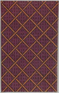 Diamond trellis design of interlocking orange grid outlined in black over irregular purple-striped background.