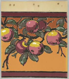 Fruit on orange background. Printed on ungrounded paper.