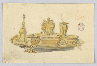 Horizontal rectangle. A tray supports a five faceted metallic objects. At left, a bell. At center an escutcheon with the papal keys and tiara.