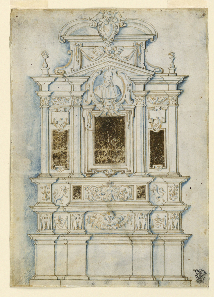 Drawing, Design for a sepulchral wall monument
