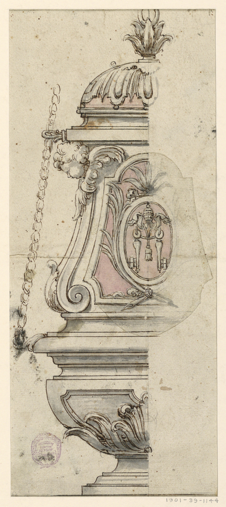 Elevation of half a censer. At center, an oval with the papal keys. At left, a cherub and suspension chain.