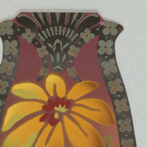 Irregular-shaped cut-out medallion with a bird, possibly a humming bird, alighted on a flower. Also contains two other different flowers and vining tendrils. Medallion is outlined with narrow band containing metallic gold floral motifs. Printed on airbrushed rust-color ground.