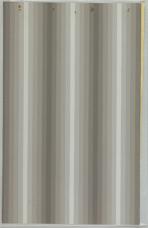 Art Deco sidewall that pairs with 2010-31-172 with alternating pattern of light and dark gray stripes with several stripes of medium shades in between;