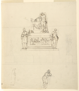 At top half of sheet, elevation of sculptural tomb: flights of steps lead to a platform with candelabra faintly indicated at the corners. On this level is a pedestal base showing a relief, representing the death of a classical painter (?); the relief is flanked by the personifications of Architecture at left, and a woman holding a wreath at the right.  Above, a winged classical male nude (a genius figure), holding a wreath in his outstretched right hand, stands in front of the sarcophagus, which is supported by crouching lions.   The side of the sarcophagus is decorated with a relief showing a medallion portrait of a man, wearing a wig, above a festoon.  At the bottom of the sheet, at the lower left, is a rough sketch of a draped woman; to the right of lower center is a mourning woman leaning against the corner of a pedestal or sarcophagus.  On the verso is a fragment of a caption.