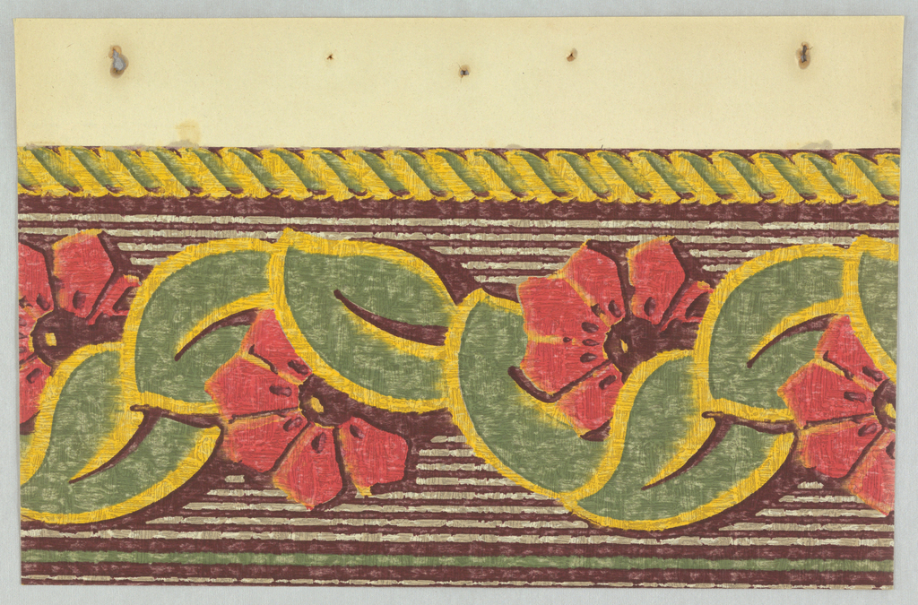 Art Deco border with frieze pattern of red flowers with wedge-shaped petals and brown centers on a vine of large green leaves with heavy yellow outlining and a large black vein; rope along top edge rendered in simple strokes of yellow and green; ground behind flowers consists of alternating thin horizontal black-and-white stripes; bottom edge has a thicker green stripe; crude coloring and outlining as if done with paint and overall weathered effect applied. Printed on paper with embossed pattern of rough plaster.