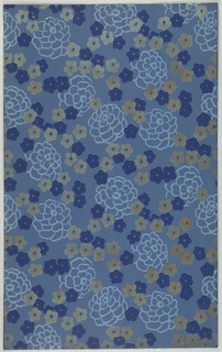 All-over floral and foliate design with large flower printed in light blue outline interspersed with smaller  deep blue and metallic gold flowers. Printed on blue ground.