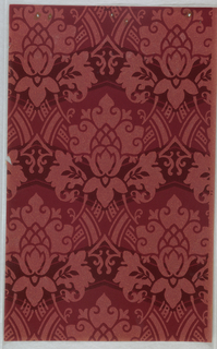 Red floral medallions on red oatmeal ground