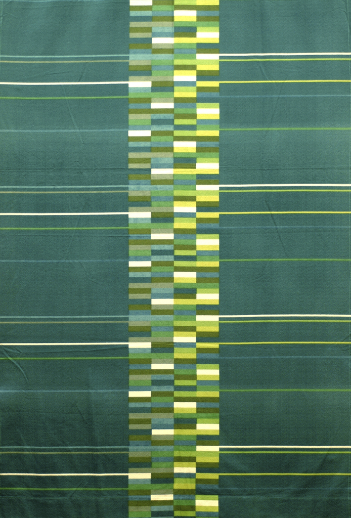 Length of printed cotton crepe with a teal blue ground and a wide central column made up of narrow horizontal rectangles in various shades of blue, green, yellow, white and gray; thin lines extend from the center to the edges of the fabric.
