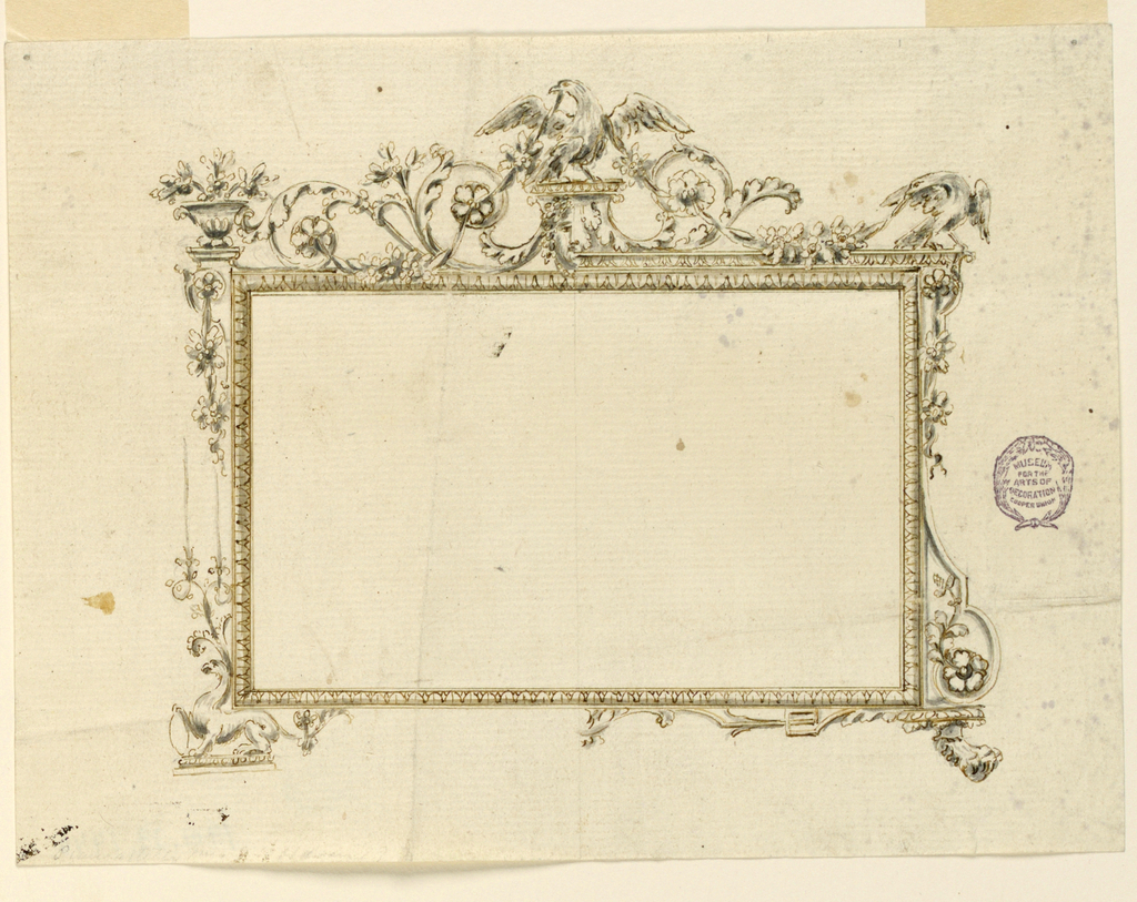 Design for a horizontal rectangular frame. At top center, an eagle with a garland in its mouth. Scrolling acanthus leaves. A vase at upper left and another bird at upper right.