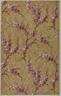 Flowering dogwood or cherry blossoms printed on mottled tan background.