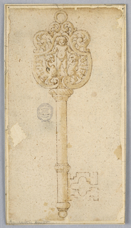 Design for a key with a scrolling ornament with putto.
