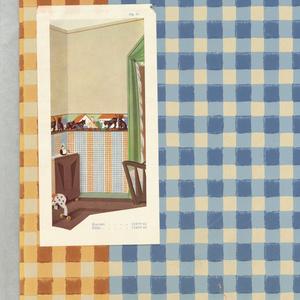 Alternating blue-white and orange-white checkered stripes. Illustration of room interior pasted onto wallpaper on the bottom left-hand corner.
