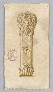 Design for a cutlery handle with a mask surrounded by acanthus leaves.