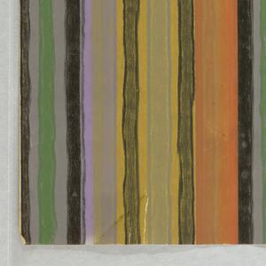 Irregularly striped sidewall printed in green, lavender, orange and black.