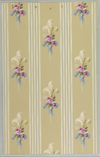 Art Deco sidewall that pairs with 2010-31-192; design with off-set columns of sprays of red roses and white primroses that are tied by blue ribbons and white strings and topped with three white feathers; columns of motifs alternate with white fluted columns; watercolor-like rendering with naturalistic shading and coloring; beige ground.