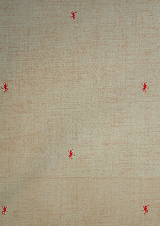 Small scale red devils printed over simulated canvas background. Printed in red and tan on beige ground.