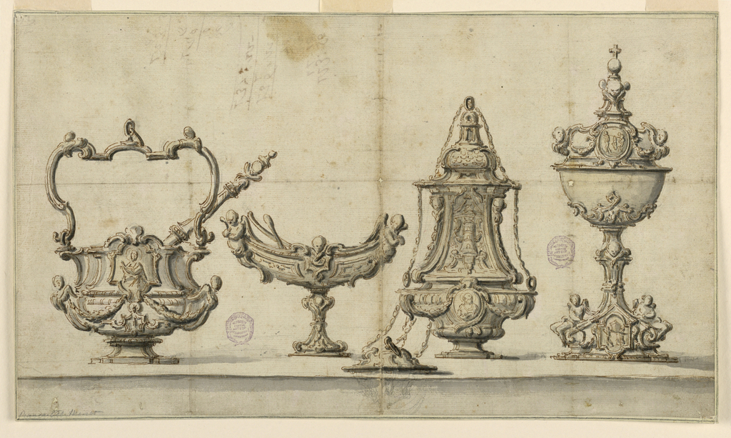 A holy water vessel with sprinkler, incense boat, censer and ciborium, all with putti and C-scrolls