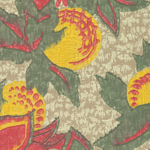 Large pattern of orange and green flowers with round, yellow fruits. Background is off-white. Paper is embossed.
