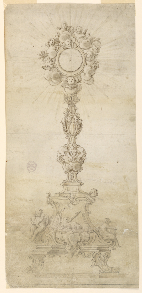 The upper base is supported by volute feet; the right one with a cherub upon a lower base. In front of it is the pascal lamb upon the book and clouds with a cherub at left. Below, at right, is a cornice with a putto sitting upon it, at the lower end; above at the corner a cherub. At left, an angel with the nails sit outside. The shaft has below clouds, with a cherub and grapes; connected by volutes is the longer upper part with vine and grain, fastened by a ring and a ribbon. The receptacle has a glory of angels, with clouds, grapes and ears of grain.