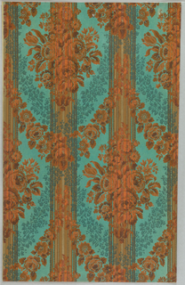 Art Deco sidewall with pattern of orange monochrome diamond-shaped clusters of flowers in off-set columns with two layers of garlands of similar orange flowers and sponged blue flowers in between; bright blue-green ground; thickly-clustered thin bright orange stripes printed at intervals over entire design.