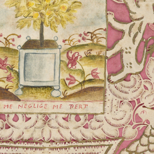 Small rectangular painting on vellum, showing an orange tree in a tub set in a flowered landscape, is imposed on a silhouette cut-out showing curtains, doves, rampant lions and a crown.  The whole attached to a pink paper ground with escolloped edges.  Gilt paper and paint outline the various members of the cut-out.