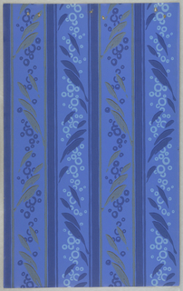 Band of metallic gold foliate motifs interspered with dark blue circles, alternating with band of dark blue foliate motif interspersed with light blue circles. Heavy stripe separates different bands. Printed on blue ground.