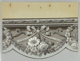 Scalloped Art Deco/Neo-Victorian valance with design of a cluster of roses dangling from a ribbon tied into a large bow; on either side a wreath of roses encircle a flaring, v-shaped arabesque; leafy garlands follow the scalloped edge; narrow band at the top with chain of leaves; naturalistic block-print shading and detailing; color scheme is in shades of white, black, and gray except with a light gray band along the scalloped edge and on the ribbon.