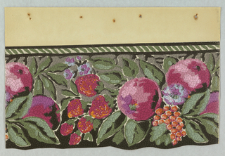 Collection of various flowers and fruits (strawberries, berries, grapes, apples) with leaves protruding into the foreground and small leaves in the background. The top border contains green and white horizontal stripes. The background is gray. The flowers and fruits are mostly reds and pinks. The paper is pebble embossed.
