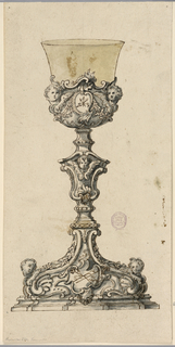 At front of the foot is an escutcheon with a trophy consisting of instruments of the Passion. The edges are scrolls with cherubim at the corners.