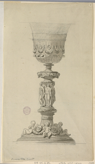 Elevation of a chalice. At the base, cherubs hold swags, interspaced by shields with masks. Above, three classical maidens. Rosettes and swags on cup.