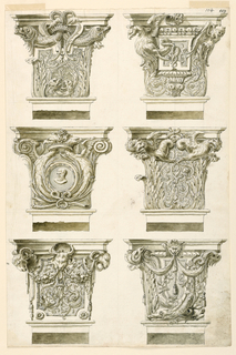 1)Two dolphins, a panel with rinceaux and animal heads; 2) at left, the half figure of an eagle, at right, with head and wings of a satyr; in the center a capital over a vase-like object; 3) with a medallion containing the bust of a bearded man, framed by two half figures of eagles and fastened to their necks by a crown; 4) dragons and rinceaux; 5) with ram's heads at the corners and in the center supporting festoons. A panel with rinceaux; 6) in the center above a lion's mask supporting drapery festoons, the opposite ends of which are supported at left by an animal's head, at right by the tail of a dolphin.