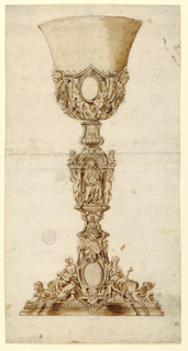 Elevation of a chalice. Love and Faith sit upon the foot. An escutcheon is shown between them. A bust of an angel above it. Temperance with a pitcher and a bowl is shown seated in a niche in the middle of the shaft. An escutcheon supported by two seated angels and cherubim over festoons is shown in the lower part of the cup.