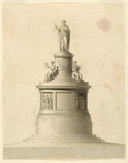 An ovoid pedestal with the arms of Francis I stands atop a drum base on steps. At top is the figure of the Emperor wearing a laurel wreath and holding a scroll. Below him sits allegorical figures; at left, Justice. The drum is divided into panels, each with three women.