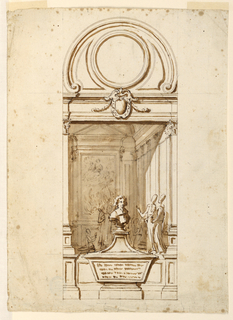 Vertical rectangle. Framed by architectural motifs. Below is a dado with a sarcophagus at center. The bust of a man is obliquely disposed on the top. The celebration of the Mass is shown  as a background, probably intended to be painted. Above is an entablature with an escutcheon and an oculus framed by scrolls.