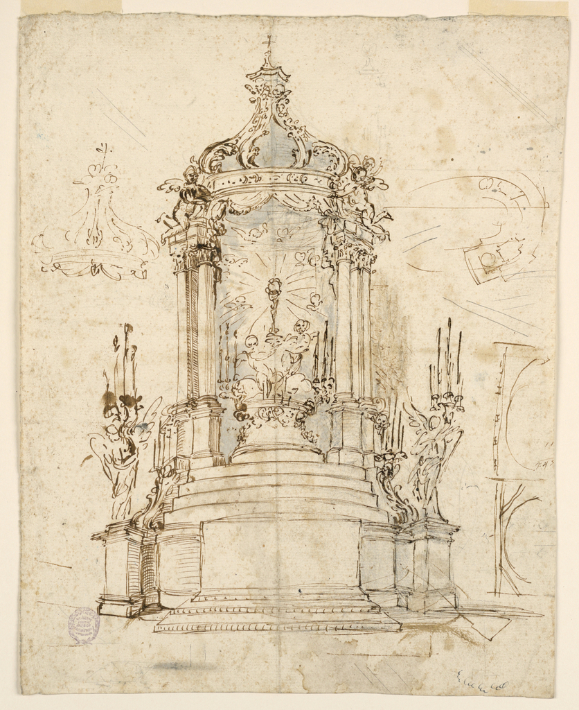 Obverse: a mensa stand before the central section of a convex dado upon which steps (ledges) rise to a pavillion in which two angles raise a monstrance on a pedestal to which candle brackets are fastened. The pavilion is topped by a cross. On pedestals which project from the dado stand two angels supporting a