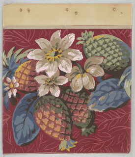 Pineapples with foliage and floral motifs. Background contains outlines of laurel or olive leaves on burgundy ground.
