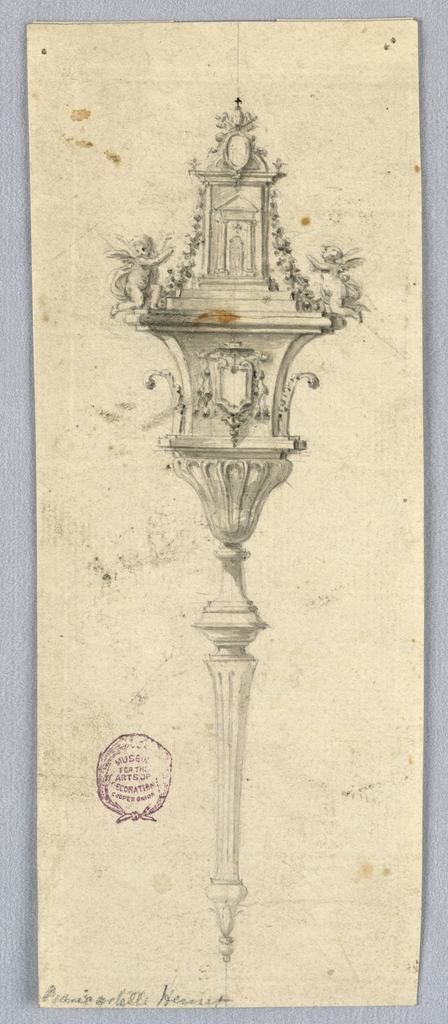 A fluted cup with a foot stands upon the shaft. Above it is a pedestal with the escutcheon for a prelate's coat-of-arms in front. Above kneel two angels beside the façade of a church with a closed door. In front of the house is a papal coat-of-arms, possibly that of Clement XIII (1758-1736). Garlands hang from the entablature.
