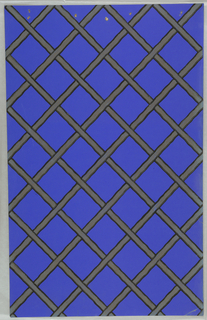 Art Deco sidewall with simple diagonal lattice pattern formed of tan bands with slightly wavy thick black borders on bold blue ground.