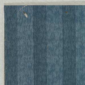 Medium blue striae ground with wide darker blue stripes.