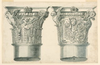 At left: with a swan, at right: with a volute and a cherub; at right, with the half figure of a fantastic fish. In the center a head with a festoon at left, a palm branch at right. rinceaux, at left with a panel. Broken columns below.