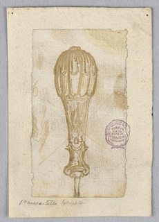 Design for a cutlery handle with a bulbous base.