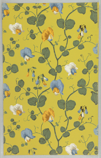 Repeating decoration of thin, twisting vines with rounded green leaves and semi-circular shaped flowers in white, blue, and yellow, and elongated buds in the same color. The background is a muted lime-green.