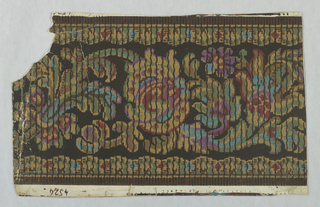 "Black with conventional vines and fruits, polychrome, scalloped borders; brown bands, waved black lines. Marked ""4526"" in selvedge. Embossed paper."